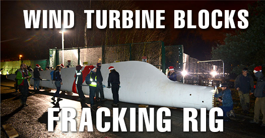 Fracking test site in Greater Manchester blockaded with giant wind turbine blade