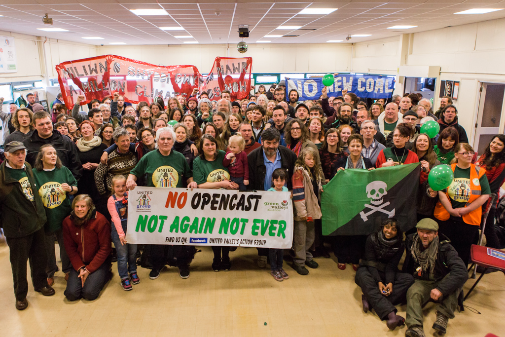 Group Photo. Solidarity Sunday. Activists from Reclaim The Power: End Coal Now meeting, talking, making banners and flowers, drinking tea together at the Fochriw Community Centre.
