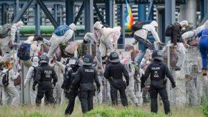 Protestors enter a power station during Ende Gelande