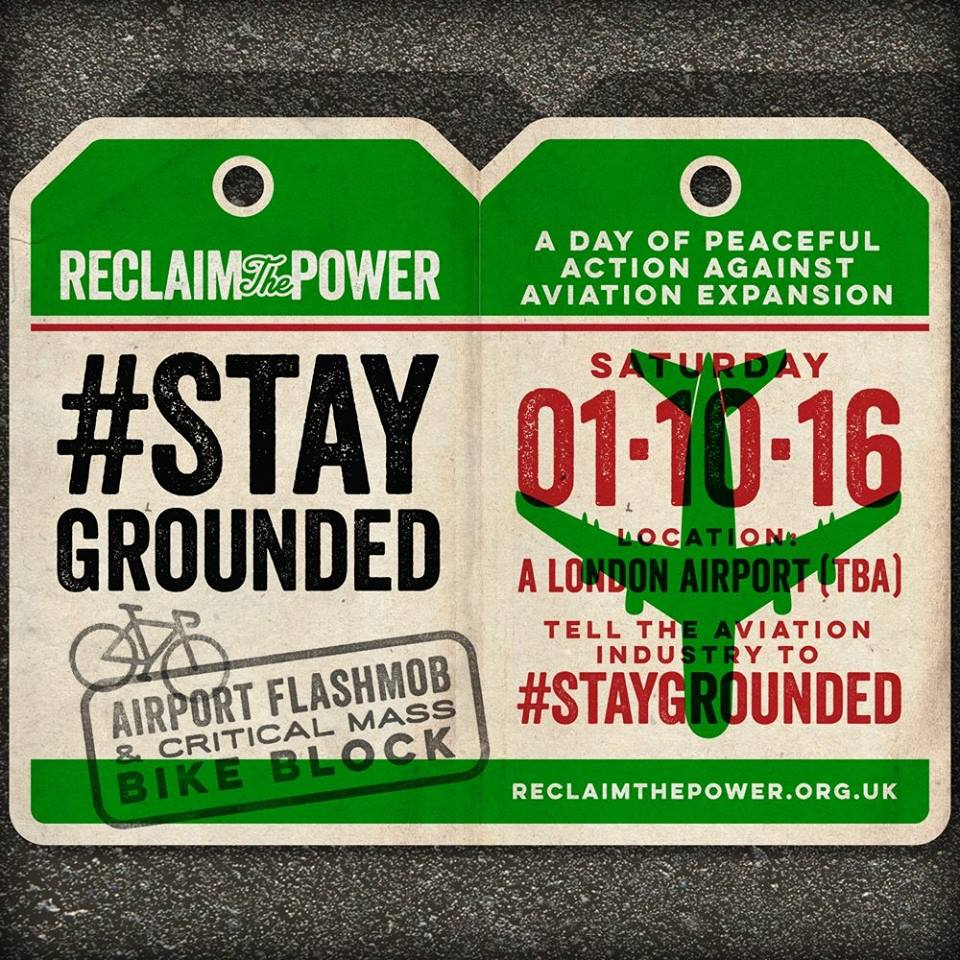 Stay Grounded luggage label flyer