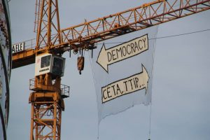 Banner drop on a crane by the European Commission