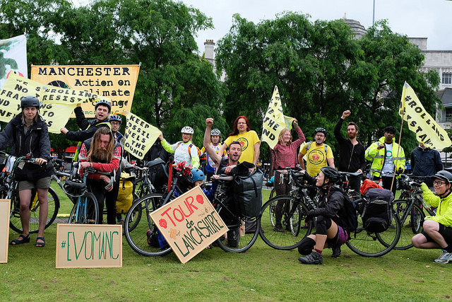 Cyclists in Manchester at start of bike ride against fracking
