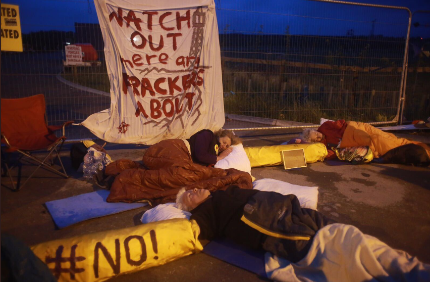 Local residents blockade fracking site