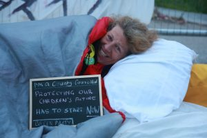 Lancashire County Councillor Gina Dowding at Preston New Road Protest Credit: Kristian Buus